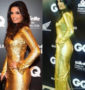 Emanuelle Araújo fugiu do preto, cor preferida das celebridades, e apostou no vestido dourado de Patricia Viera