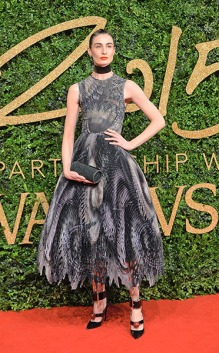 LONDON, ENGLAND - NOVEMBER 23: Erin O'Connor attends the British Fashion Awards 2015 at London Coliseum on November 23, 2015 in London, England. (Photo by Anthony Harvey/Getty Images)