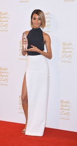 LONDON, ENGLAND - NOVEMBER 23: Jourdan Dunn poses in the Winners Room at the British Fashion Awards 2015 at London Coliseum on November 23, 2015 in London, England. (Photo by Anthony Harvey/Getty Images)