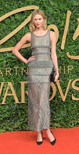 LONDON, ENGLAND - NOVEMBER 23: Karlie Kloss attends the British Fashion Awards 2015 at London Coliseum on November 23, 2015 in London, England. (Photo by Anthony Harvey/Getty Images)