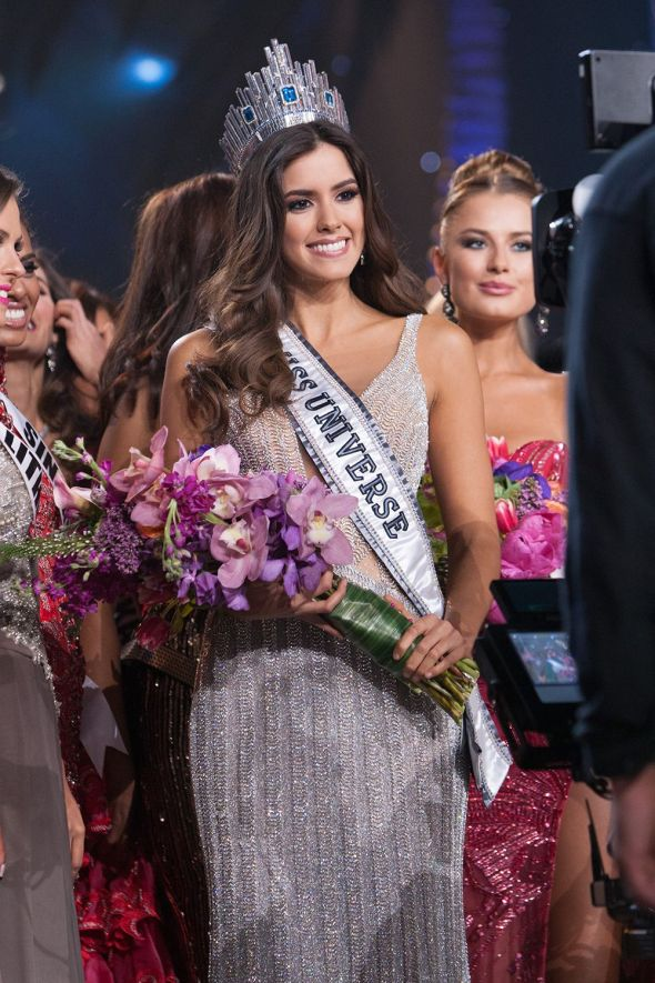 Paulina Vega, Miss Colombia 2014 is announced as one of the top ten finalists in Yamamay for MISS UNIVERSE swimwear and footwear by Chinese Laundry during The 63rd Annual MISS UNIVERSE® Pageant, broadcast live from the FIU Arena in Doral-Miami, Florida on January 25, 2015 at 8:00 PM ET on NBC. HO/Miss Universe Organization L.P., LLLP competes in an evening gown of her choice as one of the top ten finalists during The 63rd Annual MISS UNIVERSE® Pageant, broadcast live from the FIU Arena in Doral-Miami, Florida on January 25, 2015 at 8:00 PM ET on NBC. HO/Miss Universe Organization L.P., LLLP is crowned the winner by Gabriela Isler, Miss Universe 2013, on stage at the conclusion of The 63rd Annual MISS UNIVERSE® Pageant, broadcast live from the FIU Arena in Doral-Miami, Florida on January 25, 2015 at 8:00 PM ET on NBC. HO/Miss Universe Organization L.P., LLLP