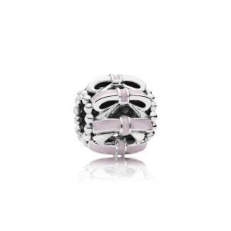 PANDORA - Charm Doce Laço Rosa (prata de lei, esmalte rosa) (divulgação)